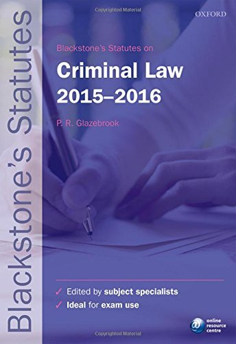 Blackstone's Statutes on Criminal Law 2015-   2016 (Blackstone's Statute Series)