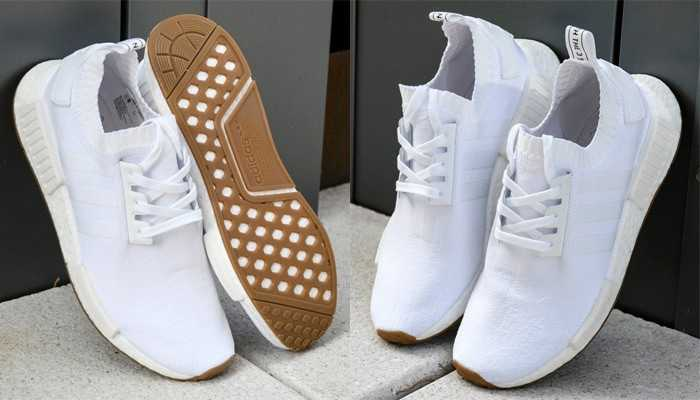 ?? Adidas Nmd R1 Prime Knit White White Gum trainers
